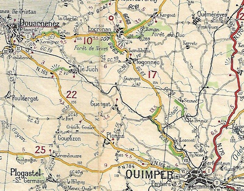 Extraits cartes Michelin 58 Brest - Quimper 1947 et 1953 Image166