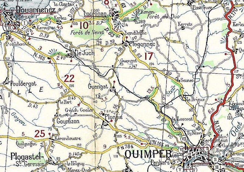 Extraits cartes Michelin 58 Brest - Quimper 1947 et 1953 Image167