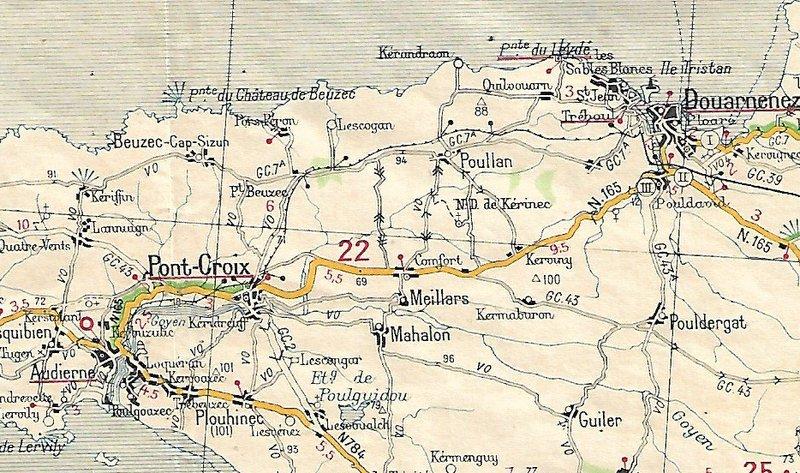 Extraits cartes Michelin 58 Brest - Quimper 1947 et 1953 Image168