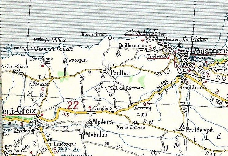 Extraits cartes Michelin 58 Brest - Quimper 1947 et 1953 Image169