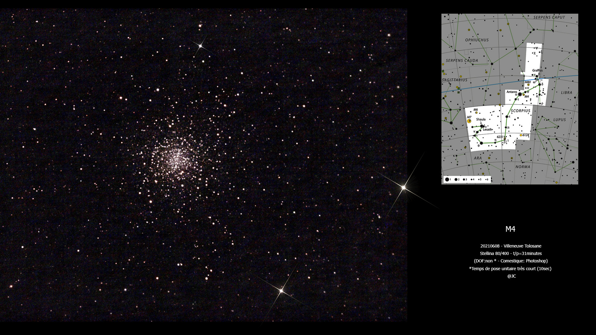 "ciel profond en poses courtes, ou ""lucky imaging"".  M411"