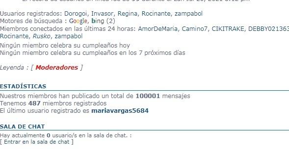 100.000 mensajes el el ForoPlural 10000010