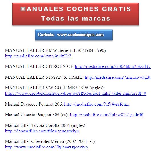 MANUALES COCHESAMIGOS PDF: Grupo de manuales taller de varias marcas de coches Amanua10