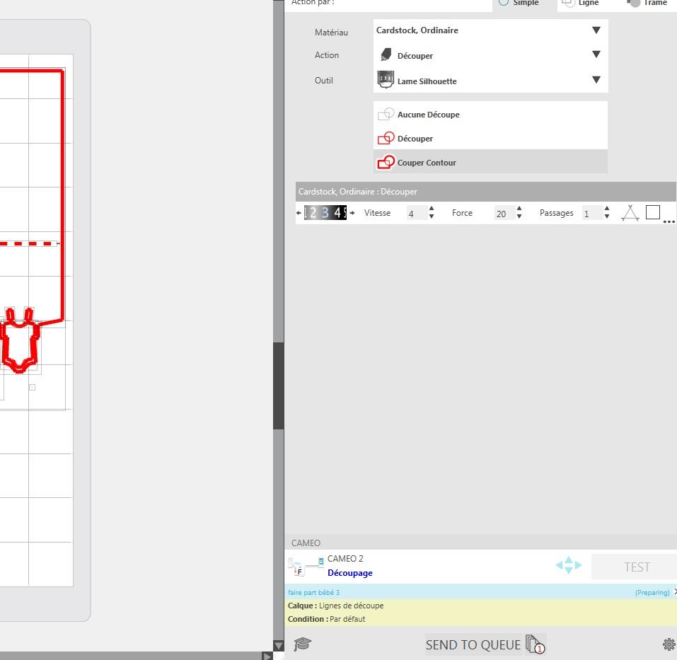 """Découpe envoyée sur silhouetteStudio - Le statut est en """"Découpage"""" mais rien ne se passe sur la silhouette Silhou10"""