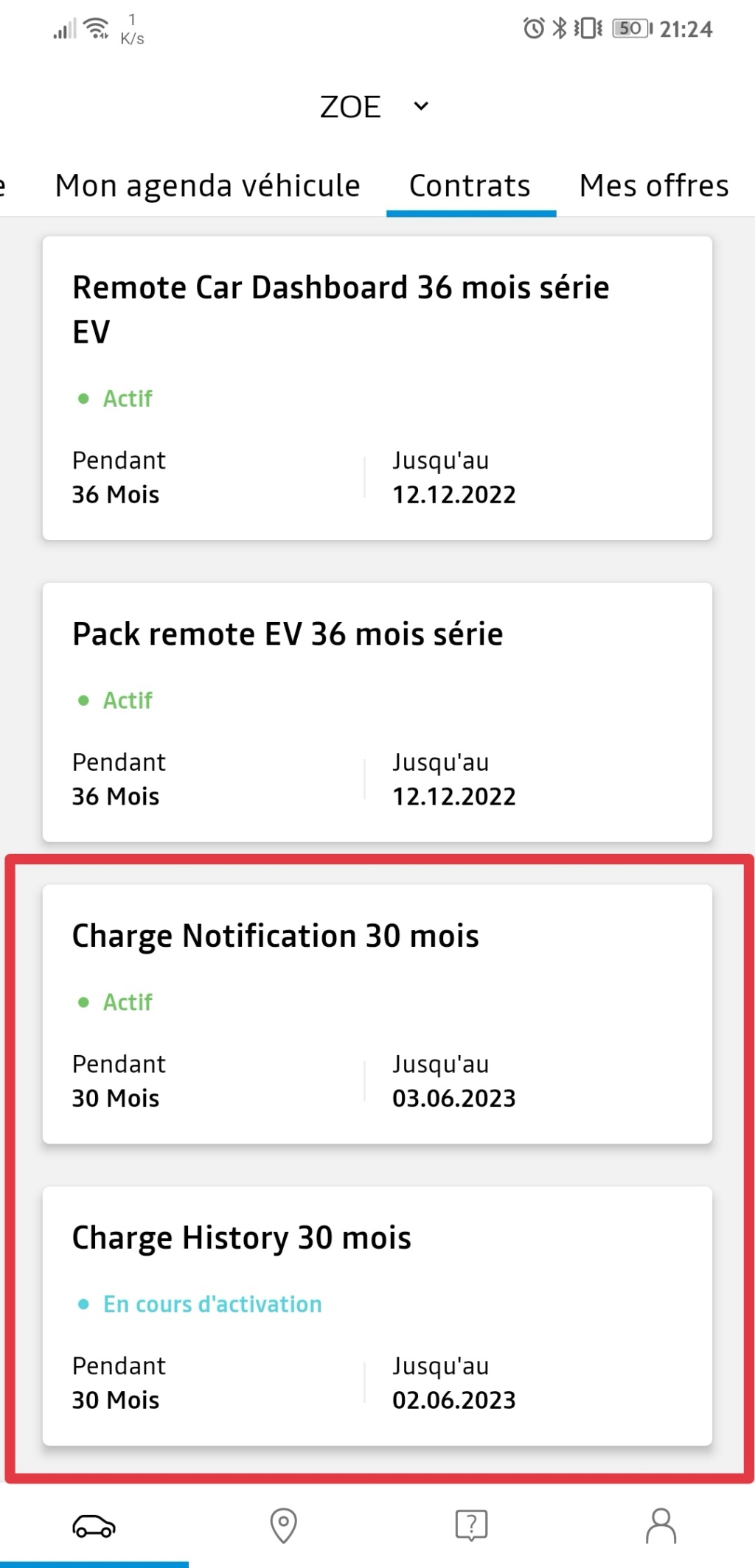 """Nouveau : """"charge notification"""" et """"charge history"""" Screen13"""