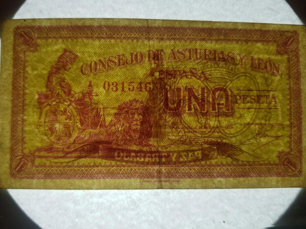 Billete Consejo de Asturias y León variante papel 1 peseta Billet11