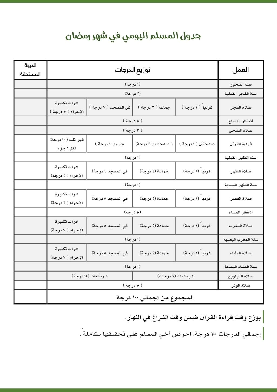 جدول المسلم اليومي في شهر رمضان Io10