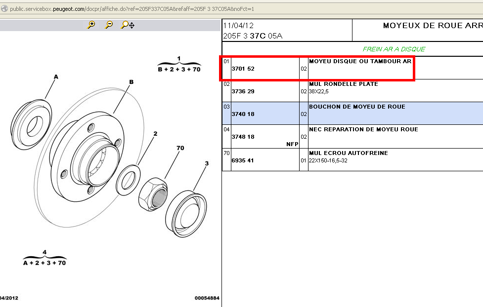 Sens montage rondelle Moyeu arriére  25547710