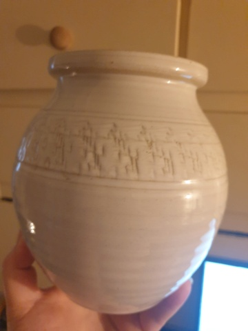 White textured stoneware vase marked P  - Pog Crafts 20210912