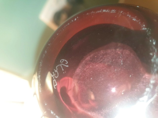 Caithness? Marked CG and DT? Amethyst colour vase, etched Fish. Caithn10