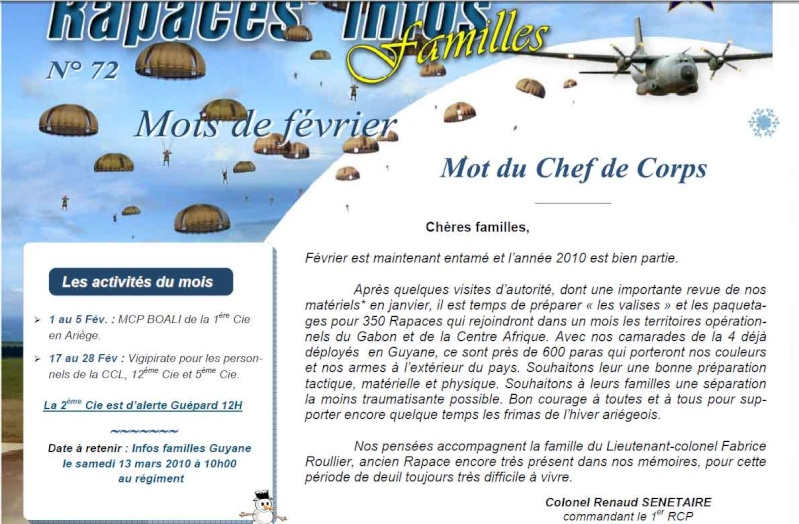 """Rapaces Infos n°72 février 2010 1er RCP mot de CDC Renaud Sénétaire - 2e Cie en alerte guépard """"12 heures"""" 1er_rc16"""
