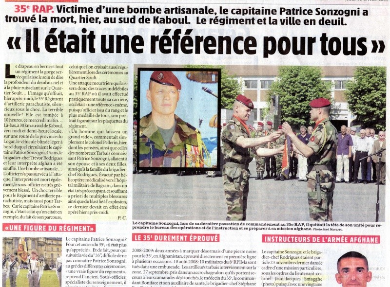 SONZOGNI Patrice Capitaine -35e RAP- Mort au Champ d'Honneur 11 fév 2009 en Afghanistan  Cne_pa11