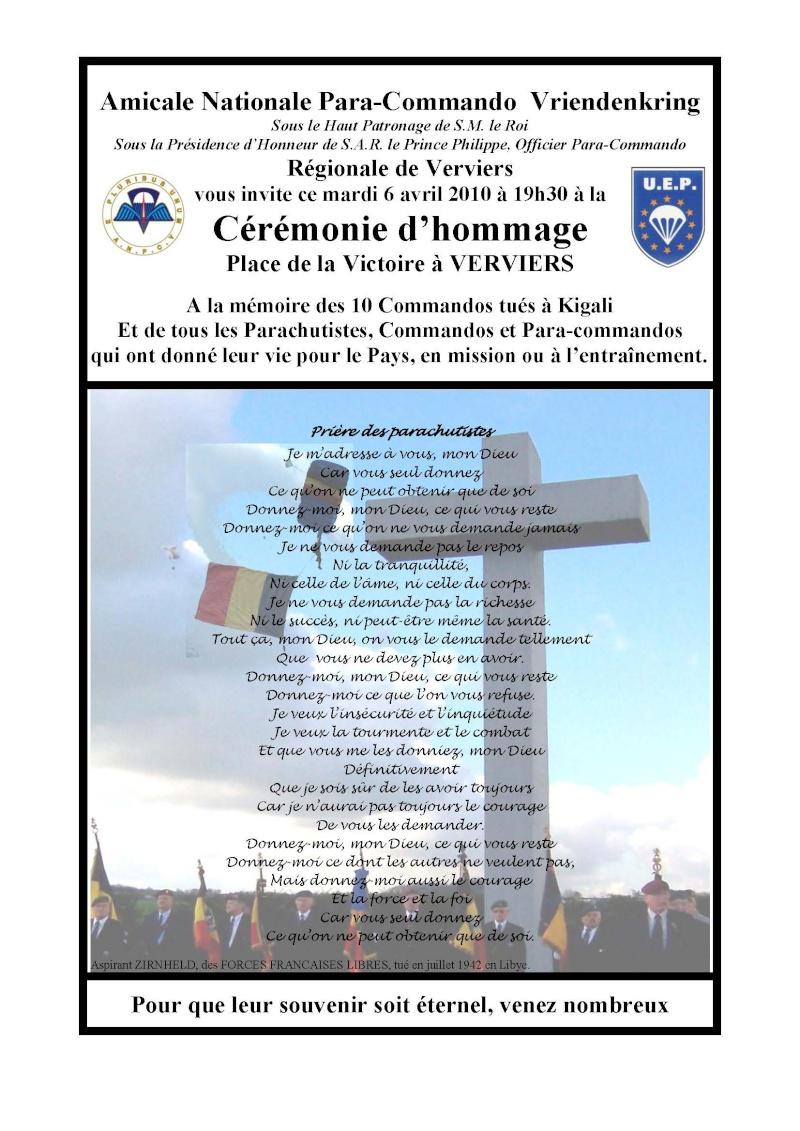 Invitation à Verviers de nos amis parachutistes belges ce mardi 6 avril 2010 Invita10