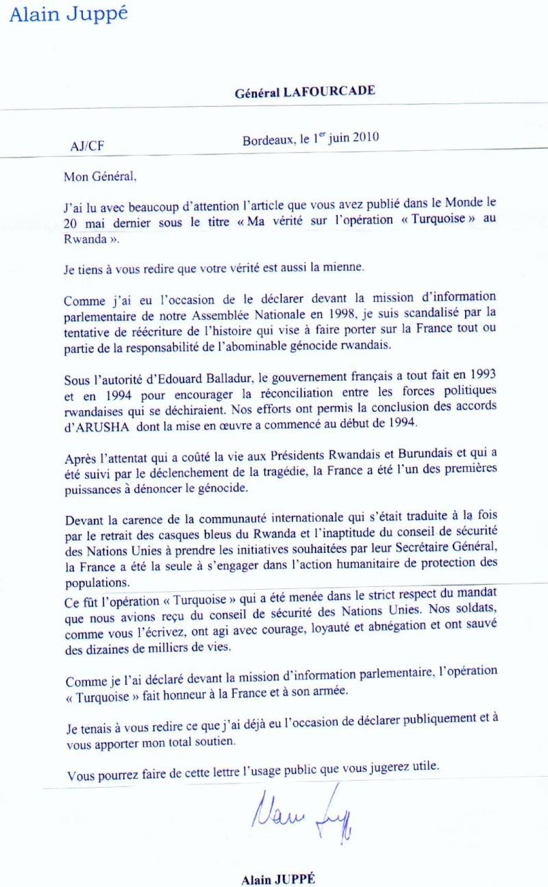 LAFOURCADE J.P. - général ** interpelle Sarkozy sur le Rwanda  Lettre10