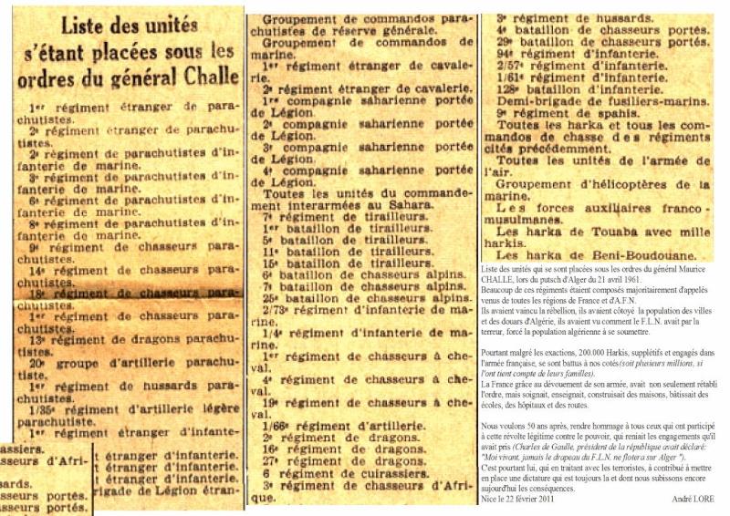 La vérité sur la participation des unités au PUTSCH du 21 avril 1961 Putsch10