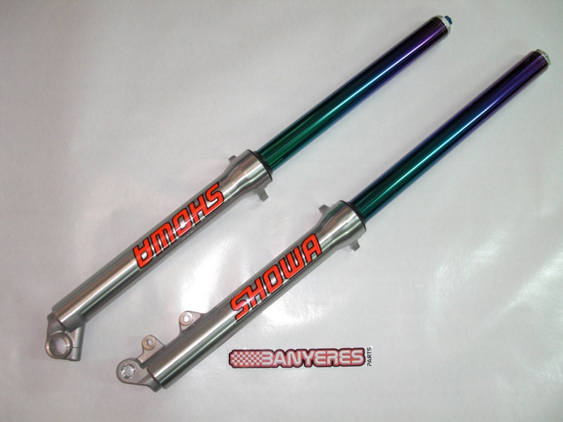 Suspension avant Showa 39mm, barres couleurs. Cimg7423