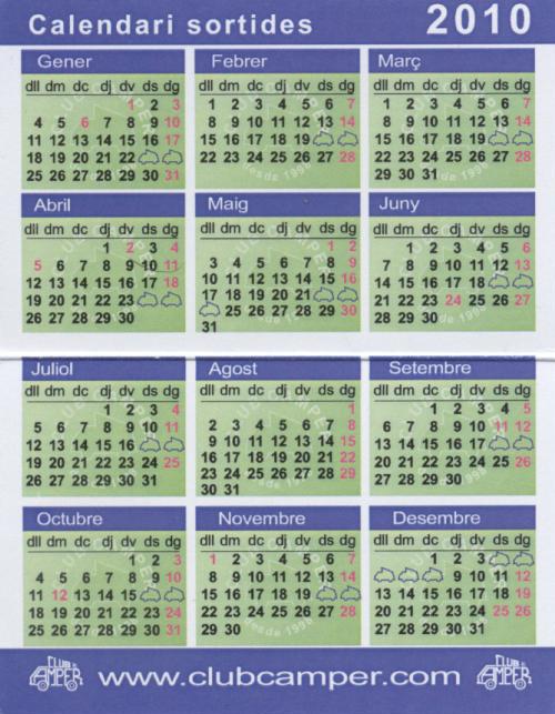 CALENDARI DE SORTIDES PREVISTES PEL 2010 Calend13