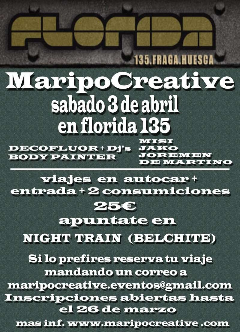 sabado 3 de abril.MARIPOCREATIVE EN FLORIDA 135 FRAGA-HUESCA Cartel10