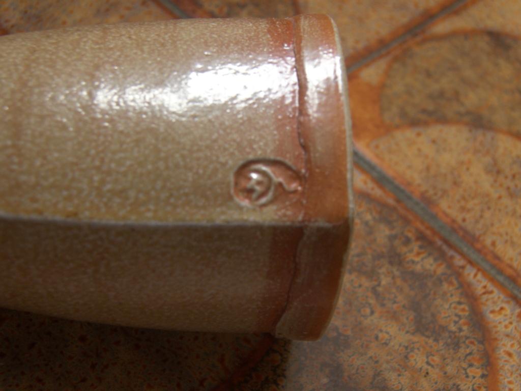 Saltglaze lugg eared pot with illegible mark - Sheila Casson 100_3815