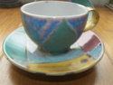 Colourful cup and saucer, unmarked 100_3710