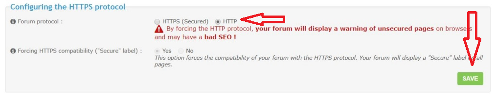 How can I change the address of the forum if SSL is active and do not allow to make changes Untitl18