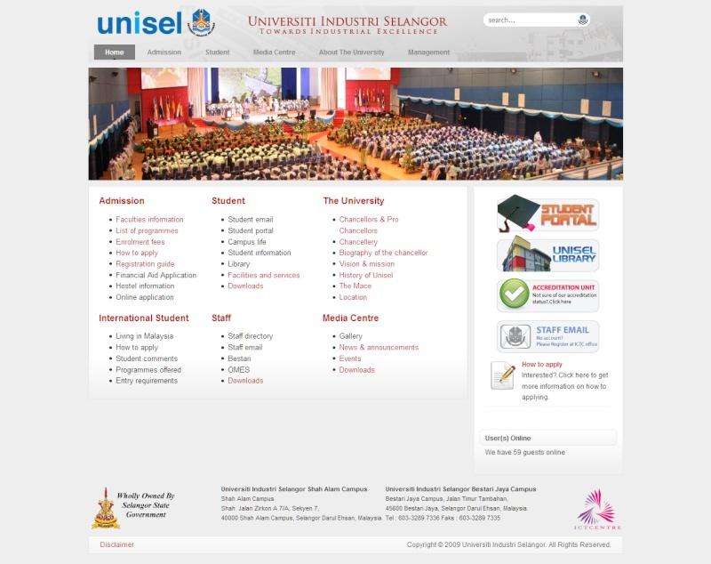 Laman web UNiSEL berubah wajah. Welcom10