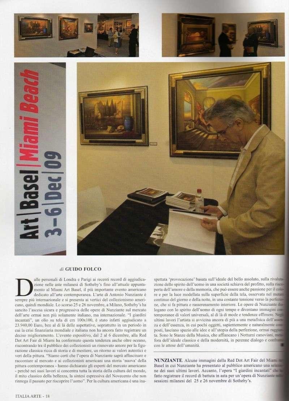 """NUNZIANTE IN COPERTINA SU """"ITALIA ARTE"""" 2009_112"""