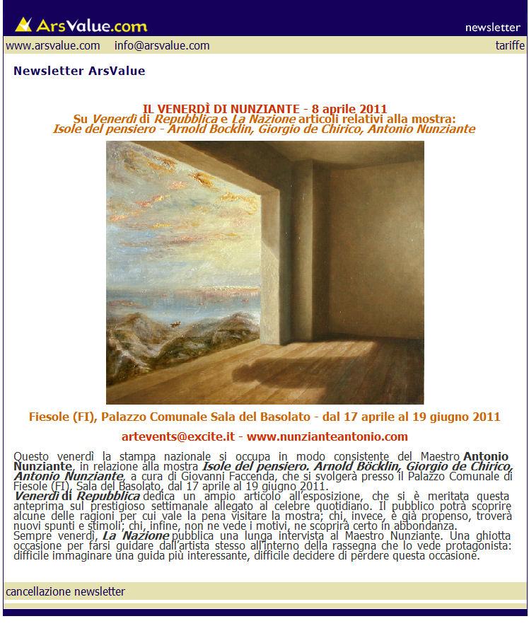 ANTEPRIMA NEWSLETTER ARSVALUE dell' 08 Aprile 2010 Newsle12