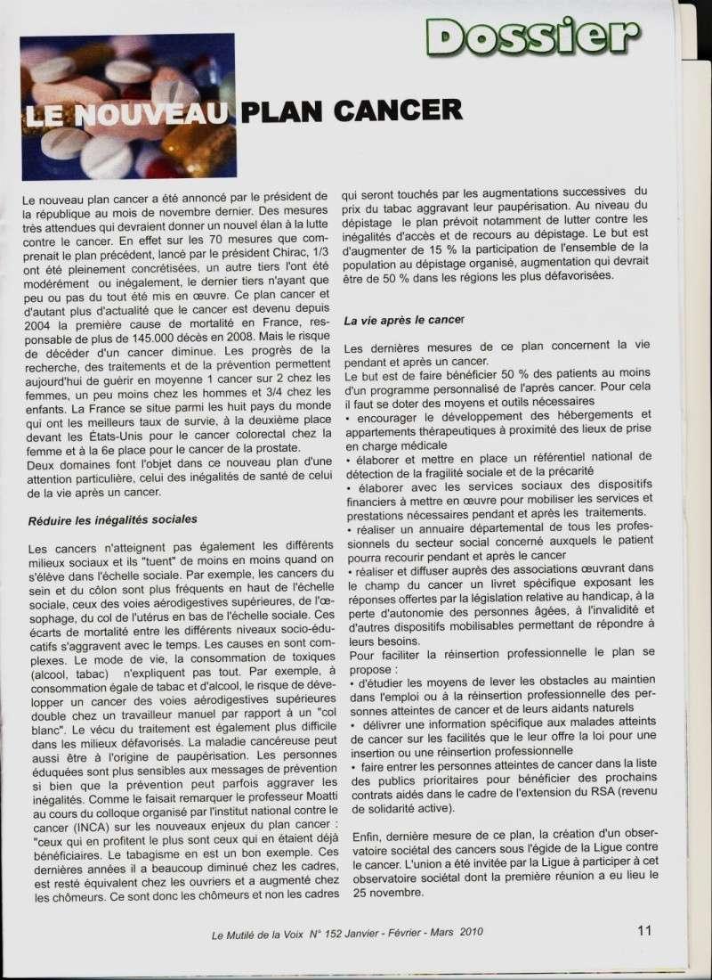 """Plan Cancer - article du """"Mutilé de la Voix"""" de l'UAFLMV Planca10"""