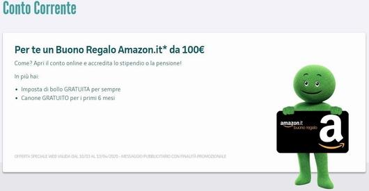 FINDOMESTIC Conto Corrente regala BUONO AMAZON € 100 [promozione scaduta il 13/04/2020] Cattur21