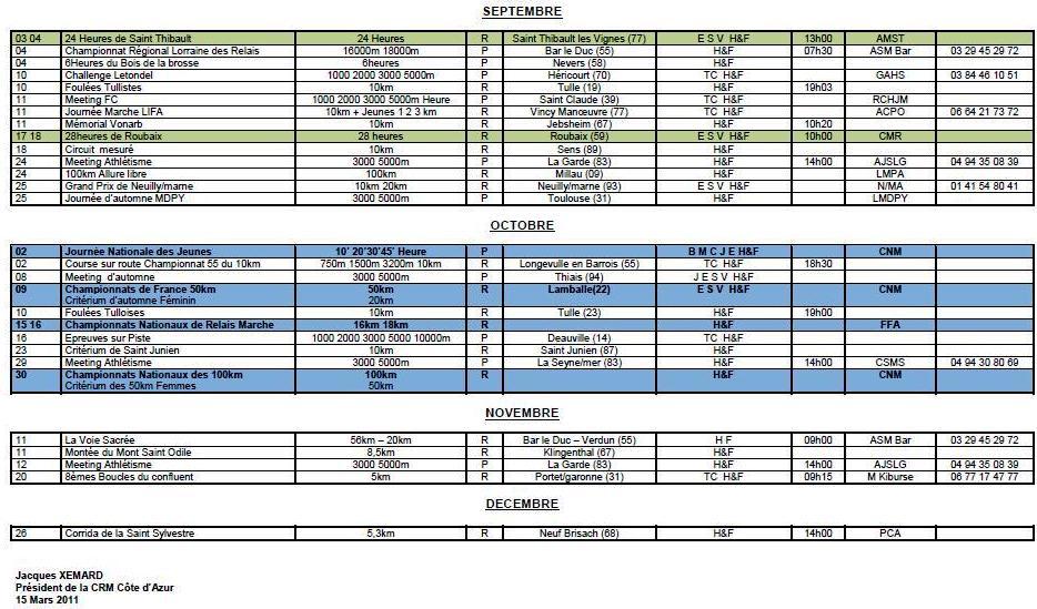 calendrier saison 2011 Xemard14
