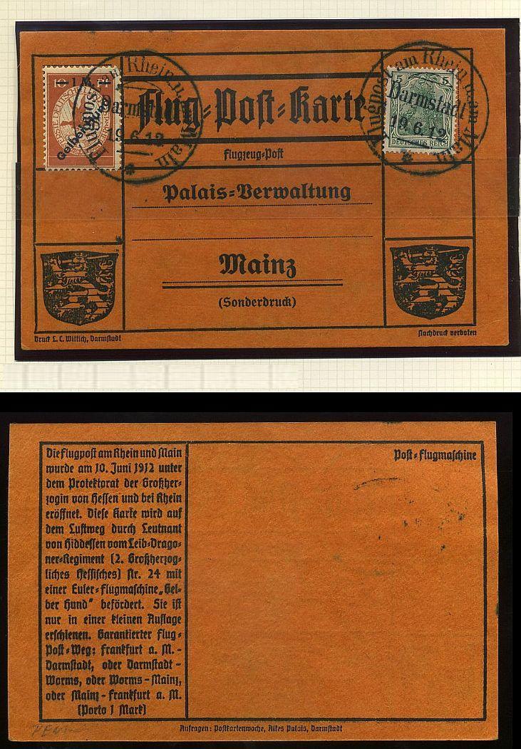 Flugpost 1912 am Rhein und Main 00000033