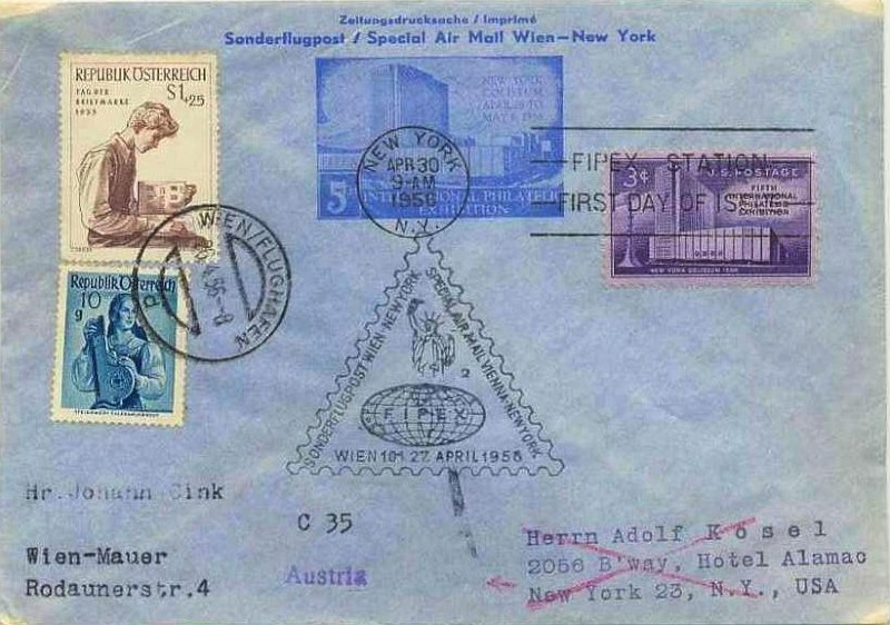 US-Zeitungsganzsache Sonderflug Wien-New York 1956 00000133