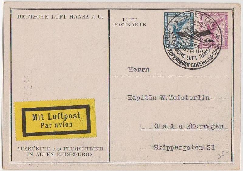 Flugpost-Ganzsache  1927 Forum_56