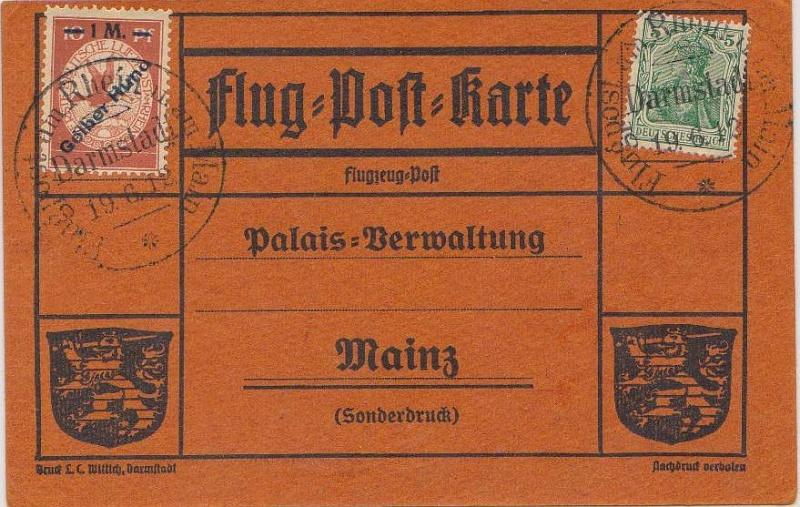 Flugpost 1912 am Rhein und Main Gelber10