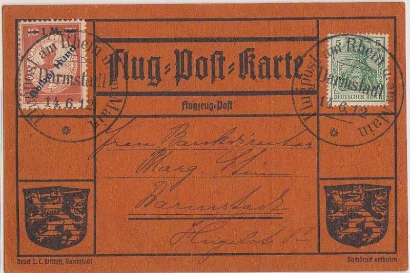 Flugpost 1912 am Rhein und Main Gelber14