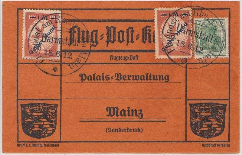 Flugpost 1912 am Rhein und Main Gelber15