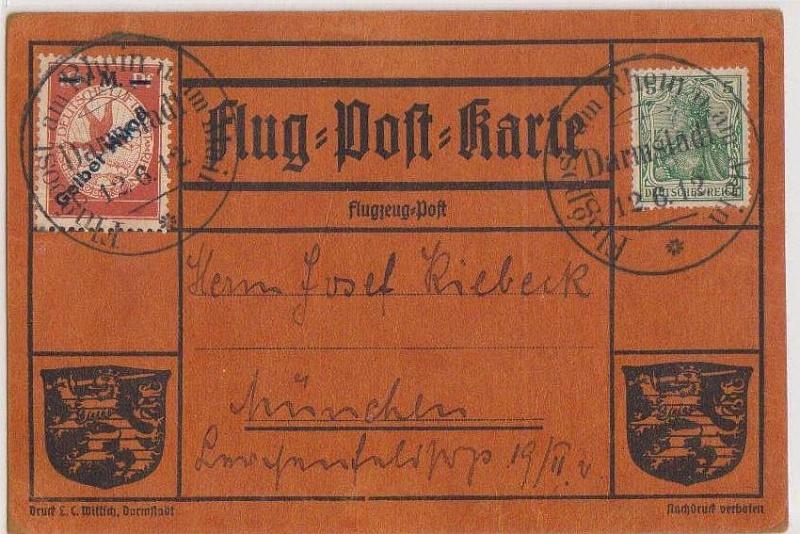 Flugpost 1912 am Rhein und Main Gelber16