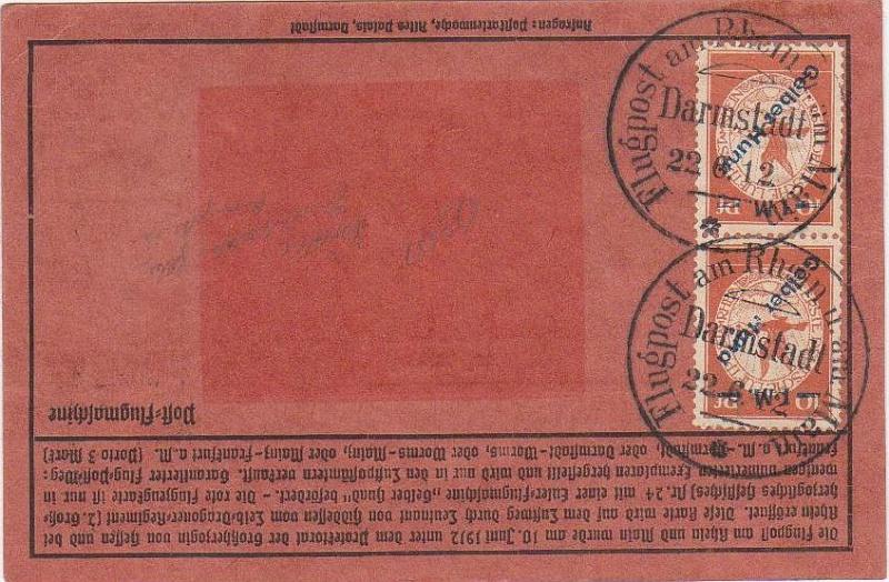 Flugpost 1912 am Rhein und Main Roter_12