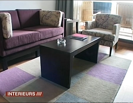 couleur mur et sol autour de canap prune. Black Bedroom Furniture Sets. Home Design Ideas