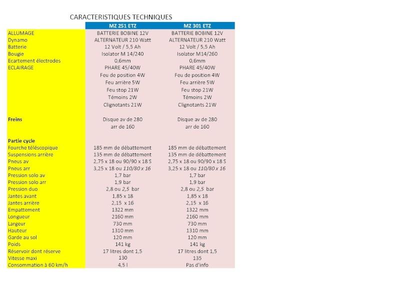 Caractéristiques Principales des versions 251 et 301 Etz_2513
