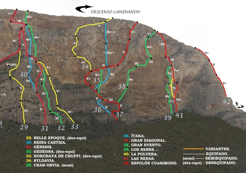 Vias de escalada en La Graja por Jose Miguel 20krok10