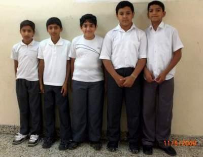 الطلبة الحاصلون على المراكز الأربعة الأولى في مسابقة الرياضيات 112