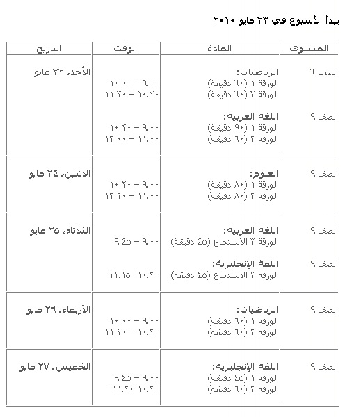 جدول الامتحانات الوطنية للعام 2009-2010 Ouooou11