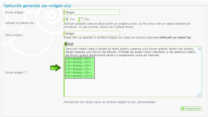 Modificarea lungimii unui widget 511
