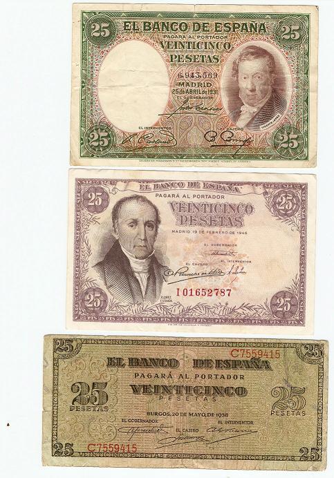 25 ptas del 1931, 1946 y del 1938 10