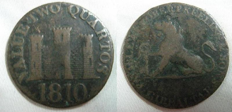 Dos cuartos de real de Gibraltar del 1810 Anvers46