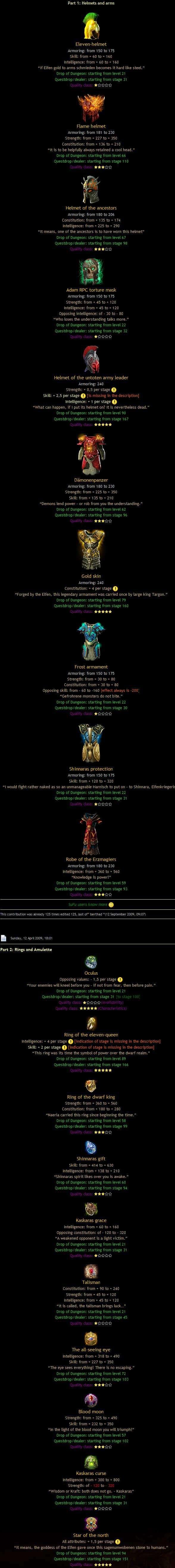 Item lista, här är alla speciella items Del111