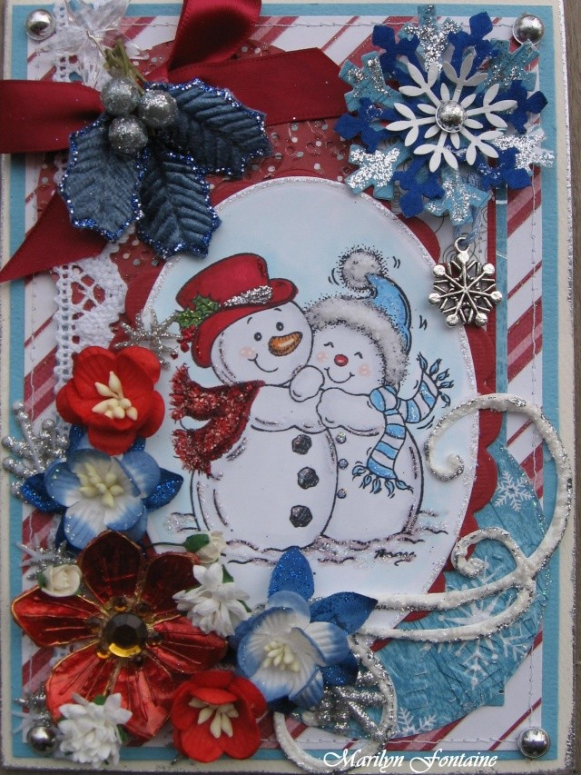13 nov! Carte de Nôël avec bonhomme de neige! 00225