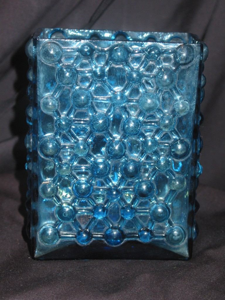 Frank Thrower? blue molded glass 03414